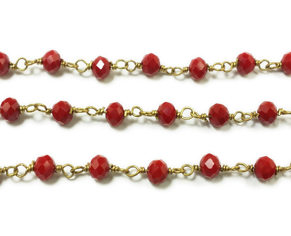 5x6mm 12 Inches Red Rondelles With Brass Chain