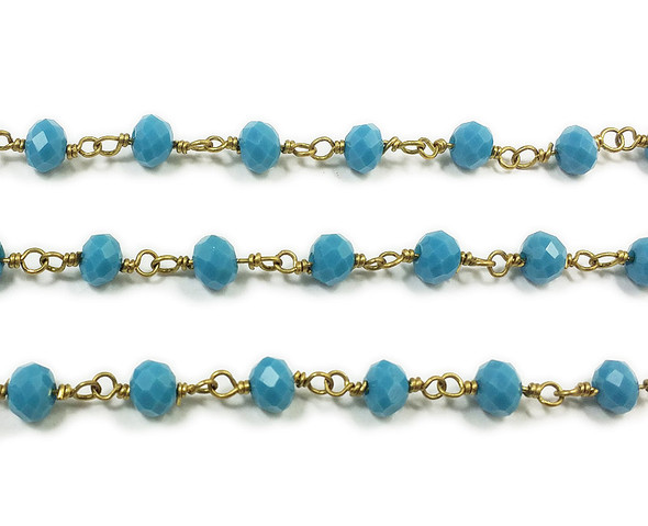 5x6mm 12 Inches Sea Blue Rondelles With Brass Chain