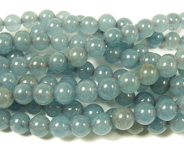 8mm Light Slate Gray Jade Round Beads