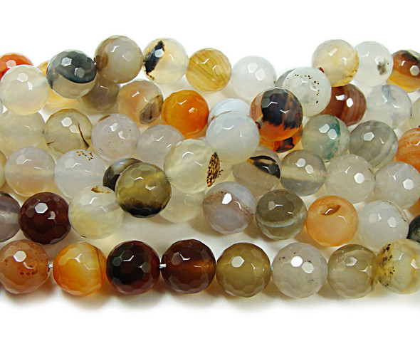 12mm About 32 Beads Reddish White Agate Faceted Round Beads
