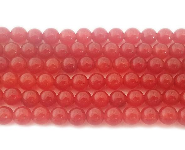 6mm Orange red jade round beads