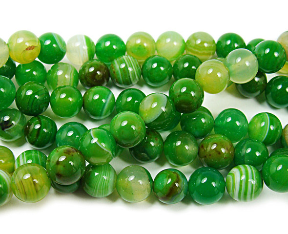 10mm  15 inch Grassy green striped agate round beads