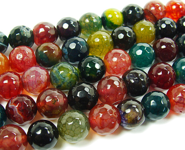 14mm Dark Red, Brown And Green Multi Faceted Agate Beads