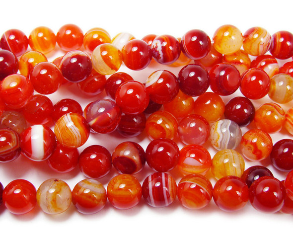 8mm  15 inches Magenta red striped agate plain round beads
