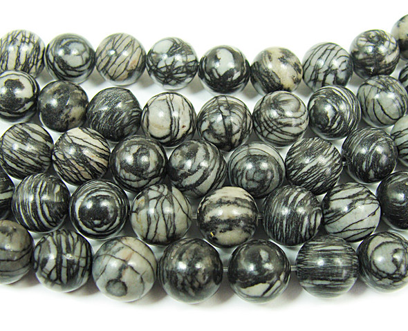 8mm 15.5 Inches Black Web Jasper Round Beads
