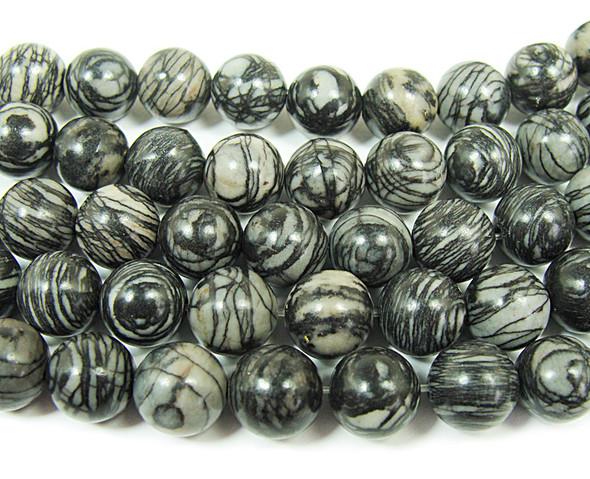 12mm  15.5 inches Black web jasper round beads