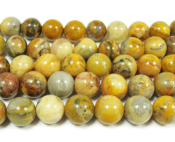 10-10.5mm Crazy Lace Agate Smooth Round Beads
