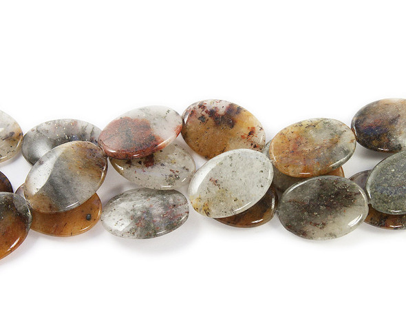 25x35mm 11 Beads Brown Moonstone Oval Beads