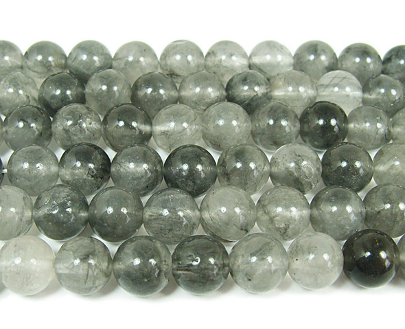 Cloud grey quartz smooth round beads