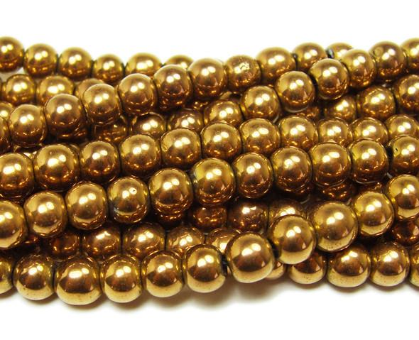 Brown hematite round beads (6mm, 15.5 inches)