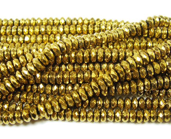 Gold hematite faceted rondelle beads (2x4mm, 15.5 inches)