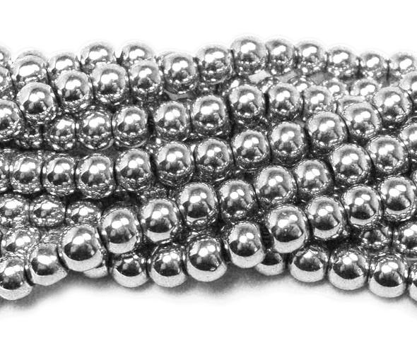 White silver hematite round beads (4mm, 15.5 inches)