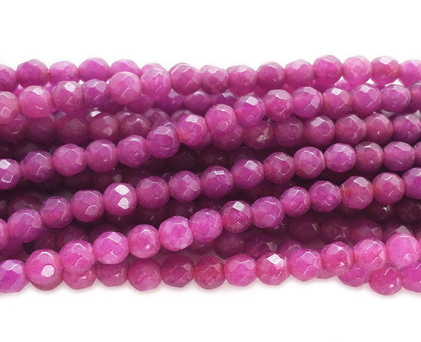 3mm Dull magenta jade faceted round beads