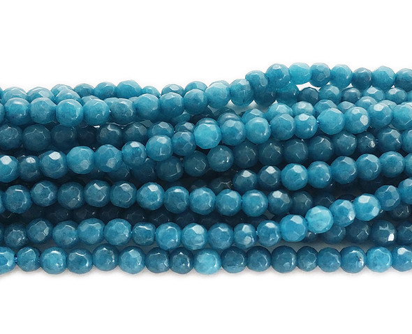 3mm Sea blue jade faceted round beads
