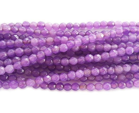 3mm Thistle purple jade faceted round beads