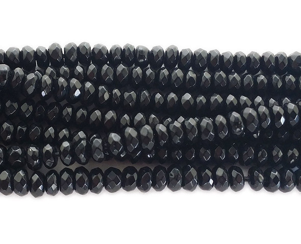 2x4mm Black jade faceted faceted rondelle beads