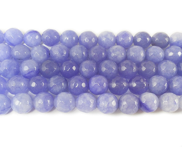 8mm Periwinkle purple jade faceted round beads