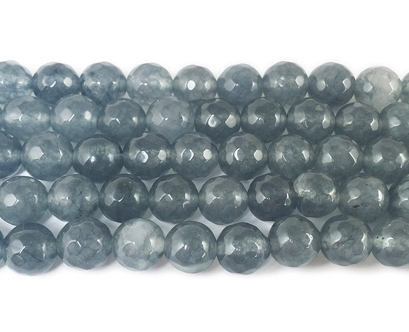8mm Dark Slate Gray Jade Faceted Round Beads