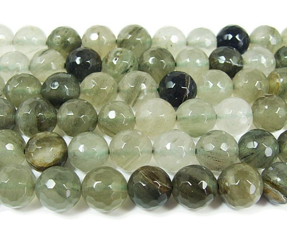 Green rutilated quartz faceted round beads