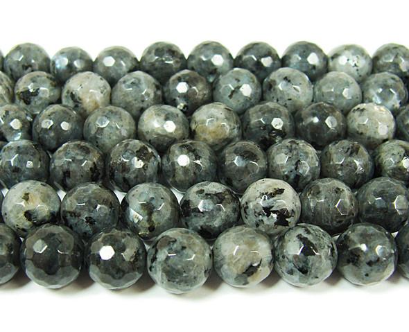 Dark labradorite faceted round beads