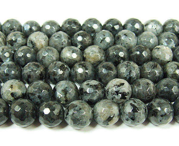 Dark labradorite faceted round beads