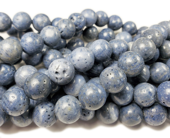 8mm Blue Sponge Coral Round Beads