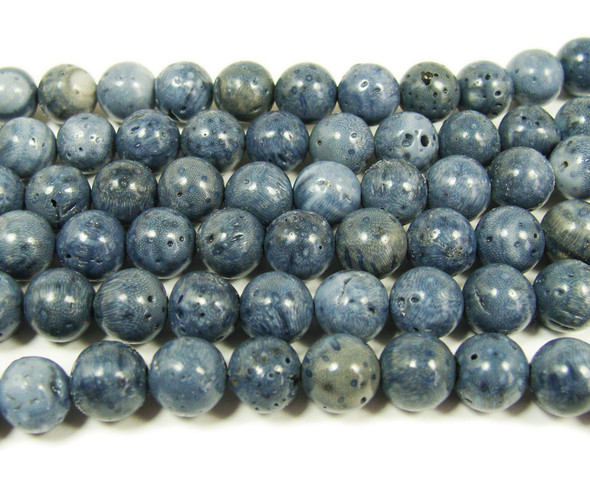 Natural blue coral round beads (8mm, 15.5 inches)
