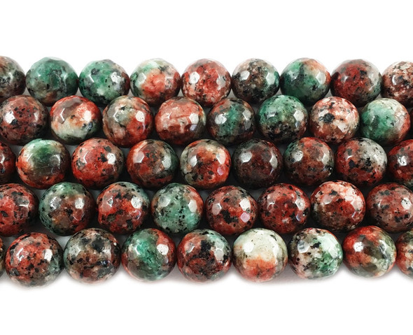 10mm Multi color red and green jade faceted round beads