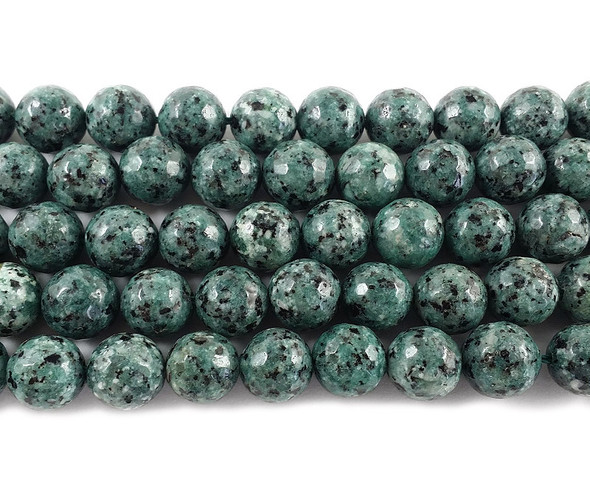 10mm Kiwi green gray jade faceted round beads