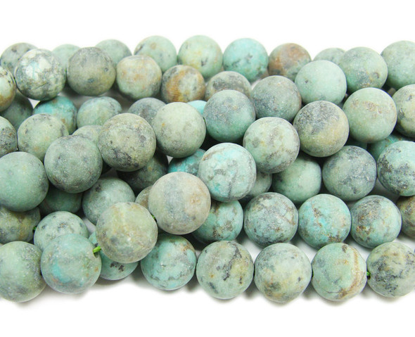 African turquose matte round beads