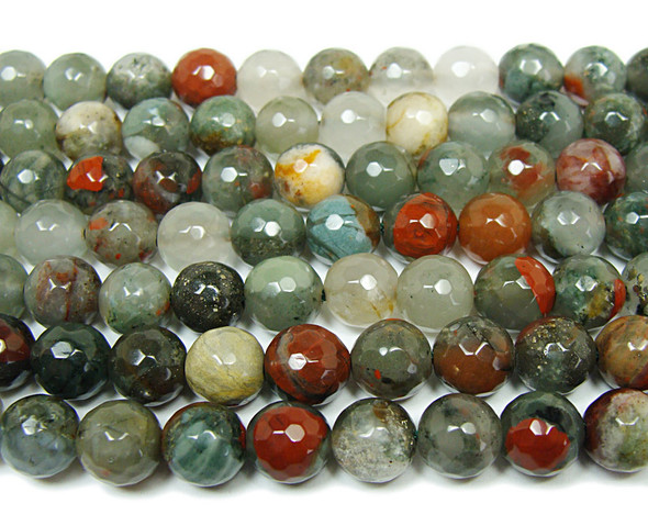 African blood quartz faceted round beads