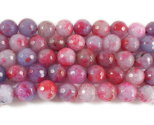 12mm Multi Color Red And Plum Jade Faceted Round Beads