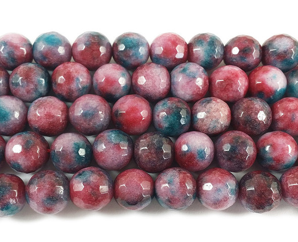 12mm Multi Color Berry Mix Jade Faceted Round Beads