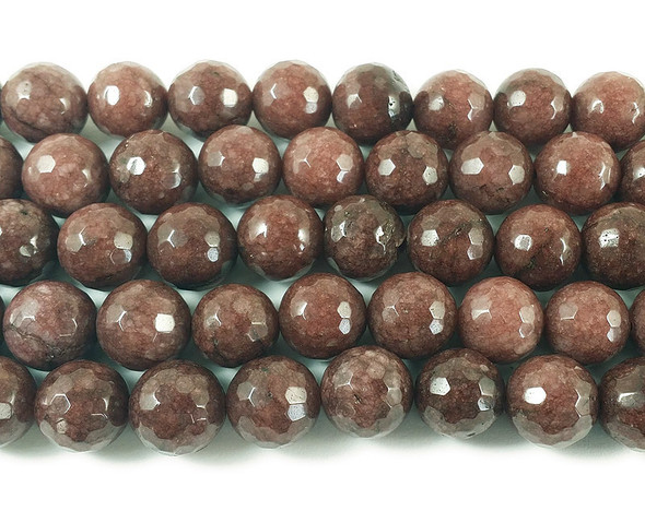 12mm Cola brown jade faceted round beads