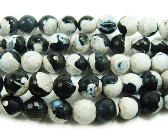 6mm Black And White Fire Agate Faceted Round Beads