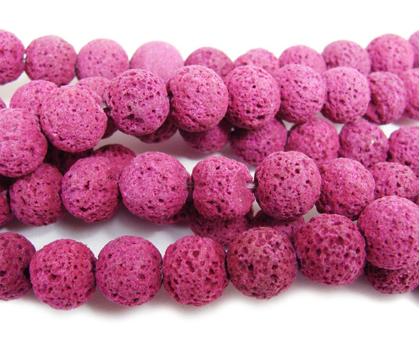 Deep pink lava round beads