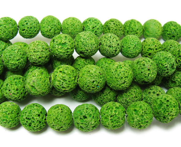 Bright green lava round beads