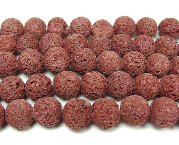Red lava round beads