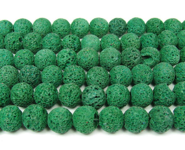 Dark green lava round beads