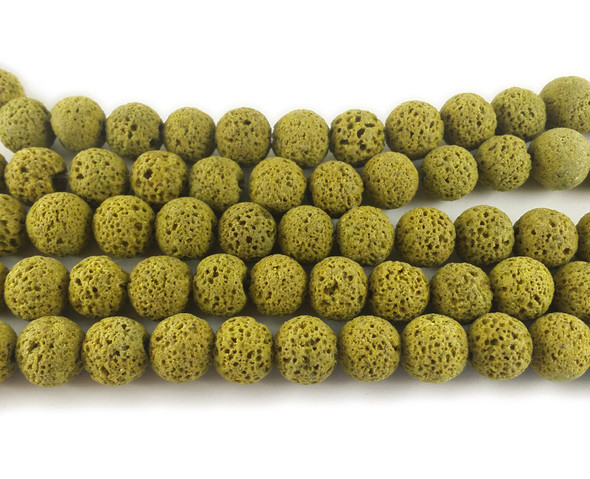 Yellow lava round beads