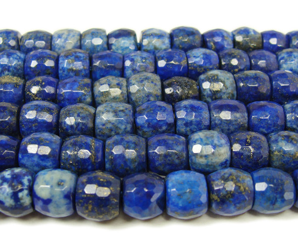 Natural lapis faceted drum beads (8x9mm, 15.5 inches)