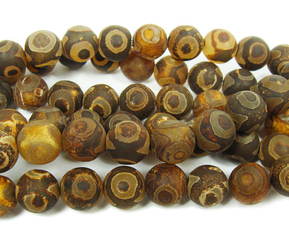 12mm Tibetan Style Agate Matte Brown Third Eye Beads