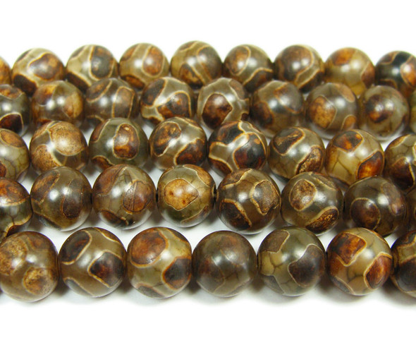 Tibetan style agate brown soccer beads (8mm, 47 beads)