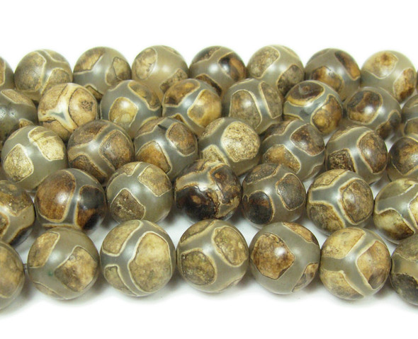 Tibetan style agate greenish brown soccer beads (10mm, 37 beads)