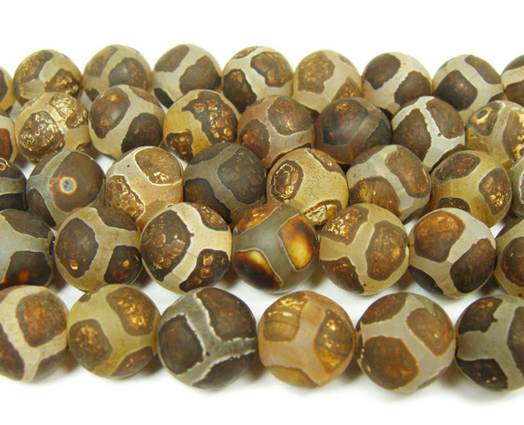 Tibetan style agate matte brown soccer beads (12mm, 32 beads)