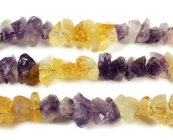 8x14mm Citrine And Amethyst Rough Gemstone Chips