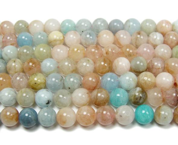 8mm Pink Morganite Multi Stone Round Beads