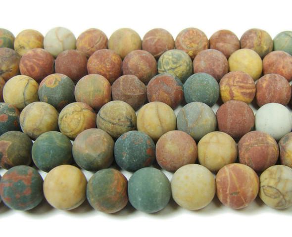 Red turquose matte round beads