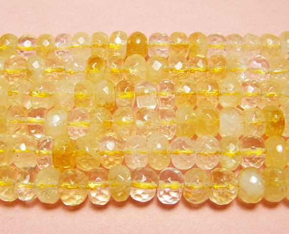 5x8mm Light Citrine Faceted Rondelle Beads