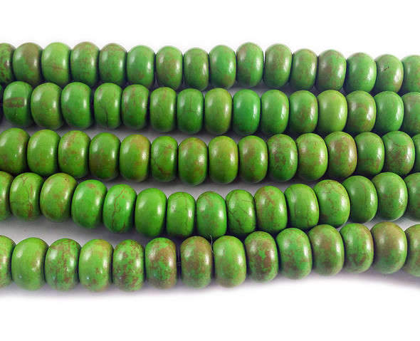 8x12mm Green Howlite Rondelle Beads